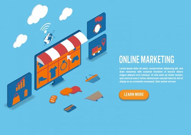 Marketing online em design isométrico