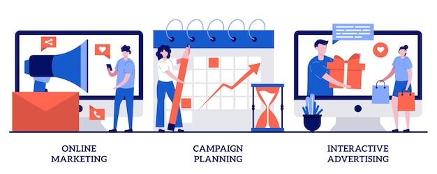 Marketing online, planejamento de campanha, conceito de publicidade interativa com pessoas minúsculas