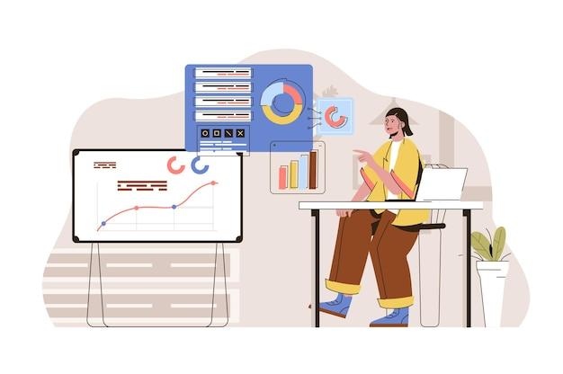 Marketing pesquisa conceito mulher marqueteira analisa dados