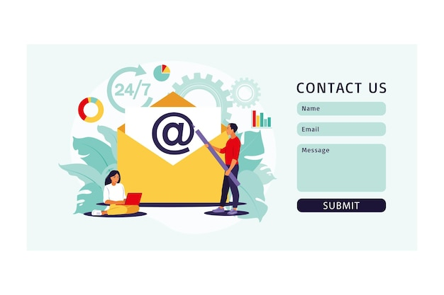 Marketing por e-mail, bate-papo na internet, formulário de contato