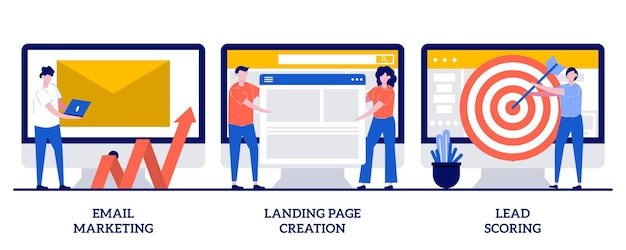 Marketing por e-mail, criação de página de destino, conceito de pontuação de leads com pessoas minúsculas