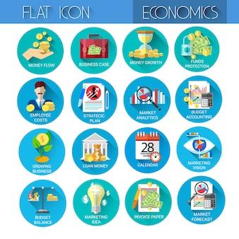 Marketing set economy business coleção de ícone de finanças