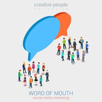 Marketing social, boca a boca, fofoca web plana 3d