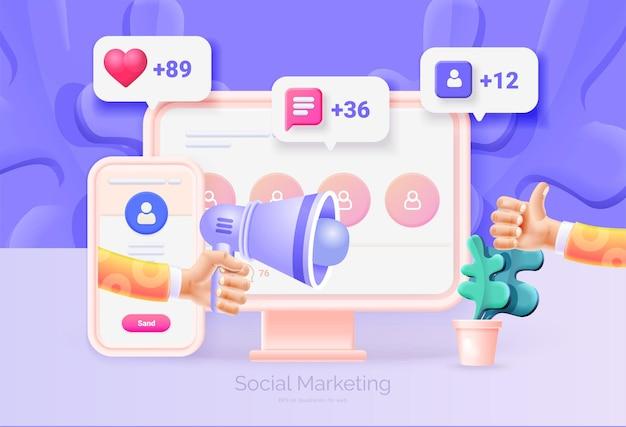 Marketing social digital. ilustração 3d do telefone celular com interface de rede social
