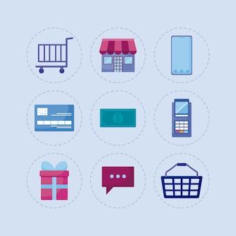 Marketing social media conjunto de ícones
