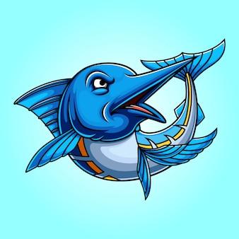 Marlin azul, peixe, caricatura