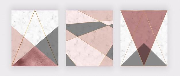 Mármore design geométrico com textura rosa e cinza triangular, folha de ouro rosa, linhas poligonais.