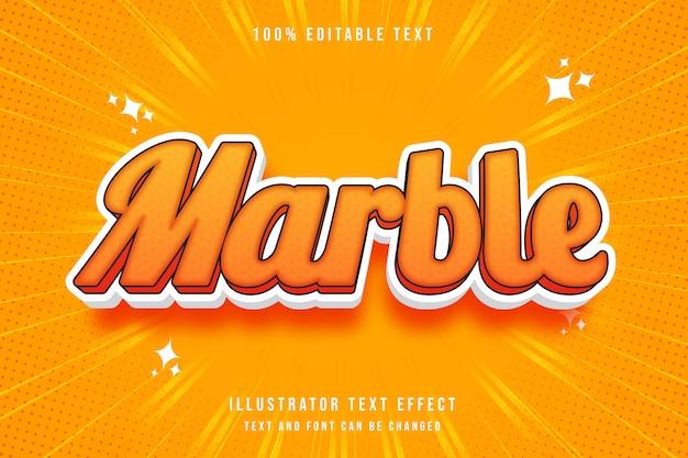 Mármore, efeito de texto editável gradação amarela laranja estilo cômico moderno