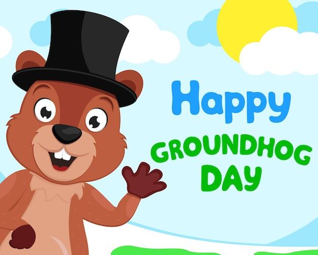 Marmota com um chapéu acenando com a pata no contexto da natureza, espaço para texto, copyspace. dia da marmota