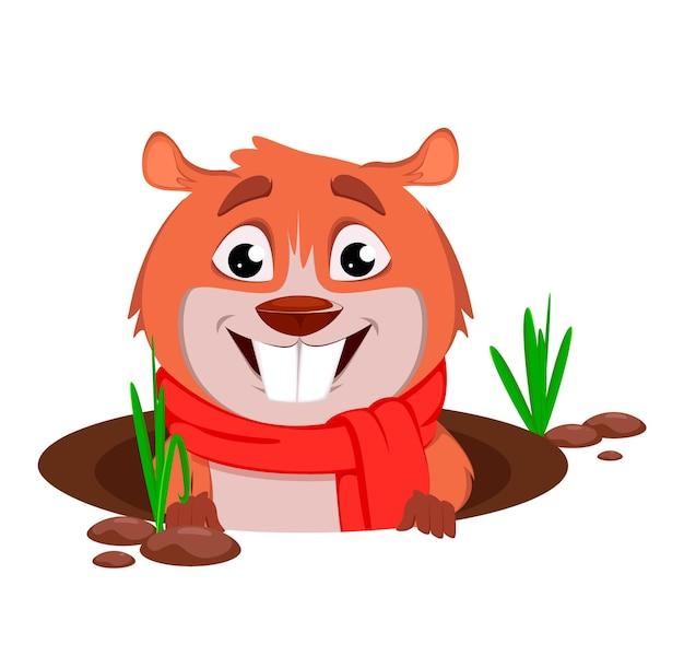 Marmota engraçada em estilo cartoon