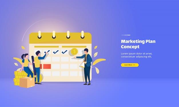Marque a data do plano de marketing e da página de destino da lista de verificação
