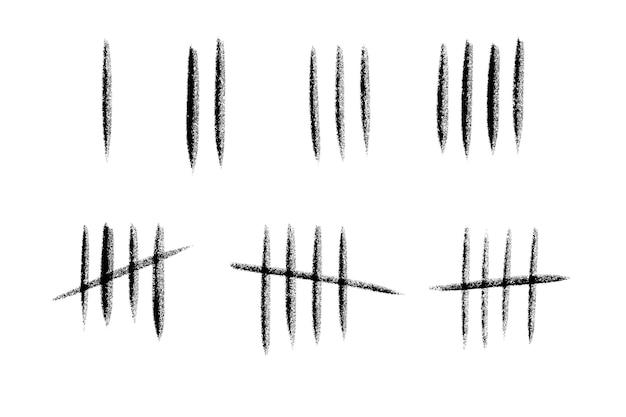Marque as linhas numéricas na parede. mão-extraídas paus para contar o tempo na prisão. conjunto de design de ilustração vetorial.