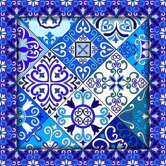Marrocos azul e branco telha o teste padrão sem emenda.