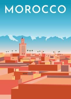 Marrocos viagens poster retro, banner vintage. panorama da cidade de marrakech com casas, mesquita, montanhas.