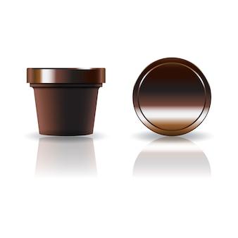 Marrom cosmético ou copo redondo de comida com tampa.