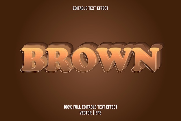 Marrom de 3 dimensões com efeito de texto editável na cor marrom