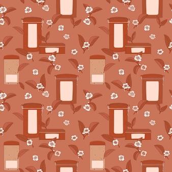 Marrom padrão sem emenda com caixas de chá e flores