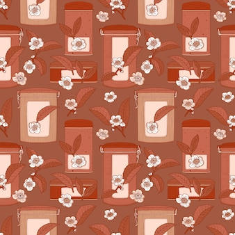 Marrom padrão sem emenda com flores, folhas e latas de chá