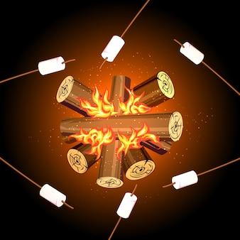 Marshmallows de acampamento de fogo, fogueira de marshmallow de vista superior. marshmallow na fogueira, fogueira ao ar livre, palito de marshmallow de comida, ilustração vetorial