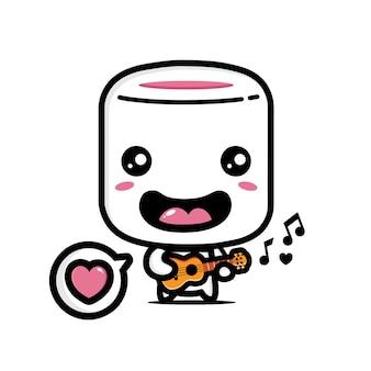 Marshmallows fofos tocando ukulele