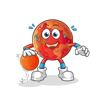 Marte dribla personagem de basquete. mascote dos desenhos animados