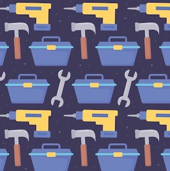 Martelo de caixa de ferramentas e broca