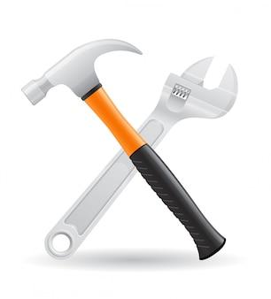 Martelo de ferramentas e chave de parafuso ilustração vetorial