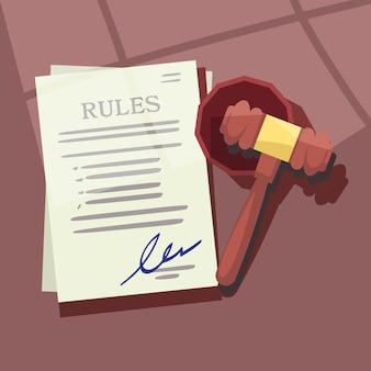 Martelo de juiz com ilustração de papel de regras ou leis