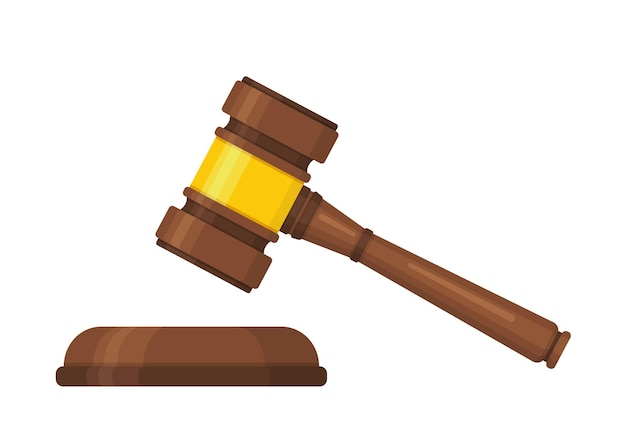 Martelo de juiz de madeira marrom estilo plano