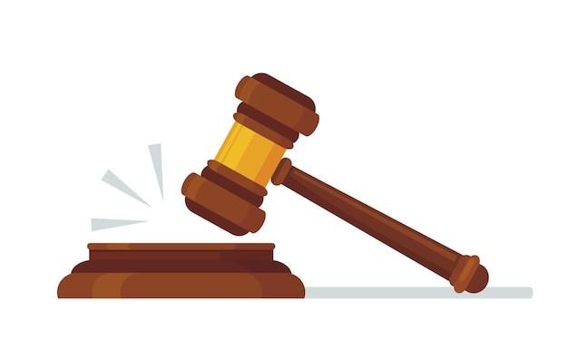 Martelo de madeira do juiz