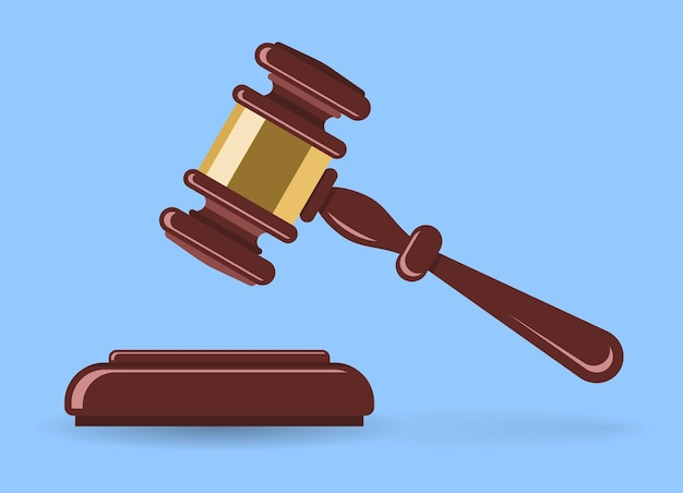 Martelo de madeira ou leiloeiro. leilão de conceito, justiça.