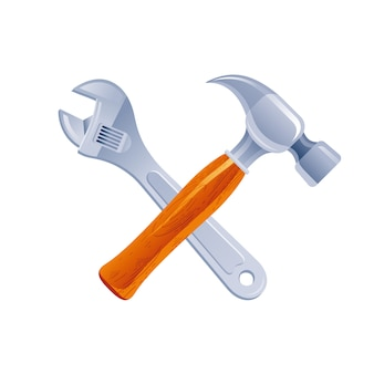 Martelo e chave ferramentas cruz, mulher