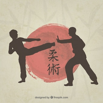 Martial art fighters silhouette