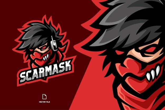 Máscara assustadora mascote ninja personagem de ilustração esport