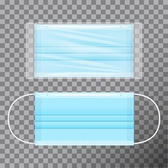 Máscara azul médica em embalagem transparente. realista em fundo transparente