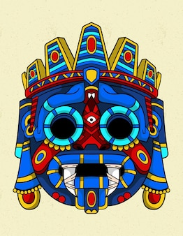Máscara azul tlaloc Vetor Premium