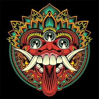 Máscara balinesa ritual tradicional. ilustração de contorno vetorial