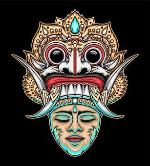 Máscara balinesa tradicional. vetor premium