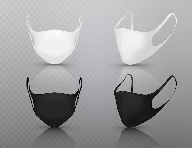 Máscara branca e preta de coronavírus, máscaras médicas de proteção vários respiradores