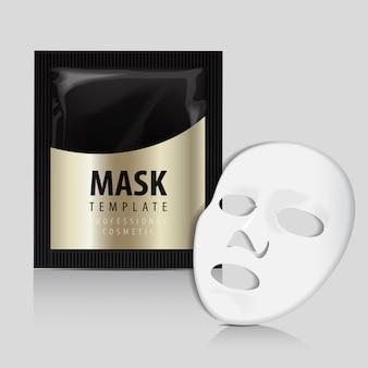 Máscara branca facial. pacote de ouro de cosméticos.