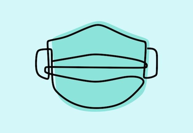 Máscara cirúrgica arte em linha contínua on-line