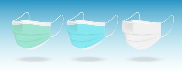 Máscara cirúrgica e proteção contra vírus com caixa isolada no fundo branco. respiração de segurança, cuidados de saúde e design de conceito médico.