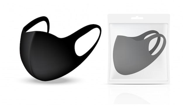Máscara cirúrgica e proteção contra vírus com embalagem de saquinho isolado no fundo. respiração de segurança, cuidados de saúde e projeto de conceito médico.