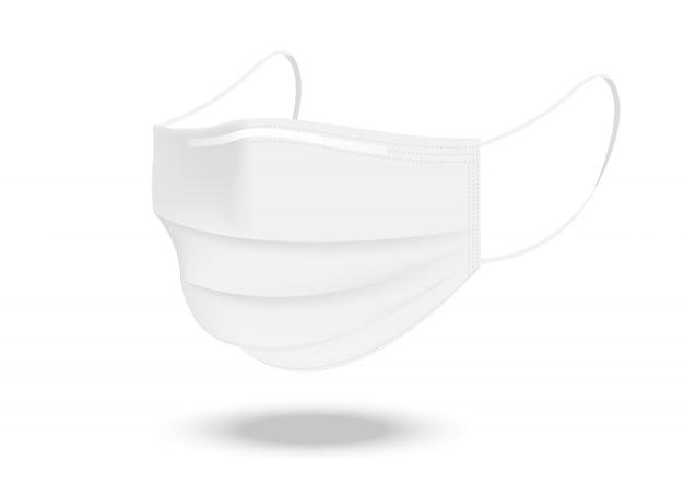 Máscara cirúrgica e proteção contra vírus isolada. respiração de segurança, cuidados de saúde e projeto de conceito médico.