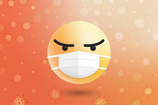 Máscara cirúrgica rosto médico emoji moléculas coronavírus rodeado
