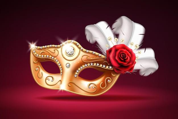 Máscara colombina brilhante para cobertura facial em carnaval ou baile de máscaras