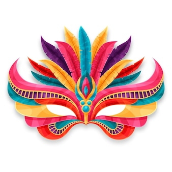 Máscara colorida de carnaval veneziano isolada no fundo branco