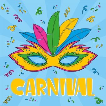 Máscara colorida desenhada de mão para o carnaval brasileiro