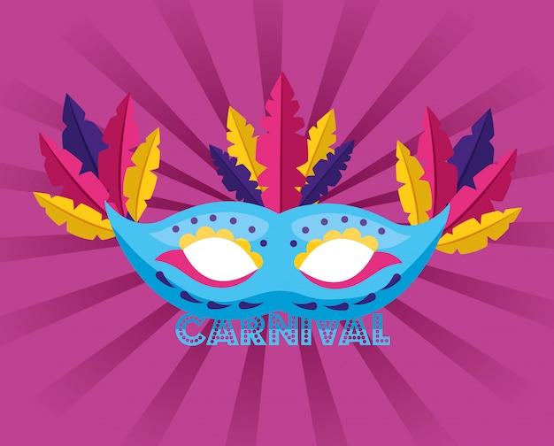 Máscara com carnaval de penas