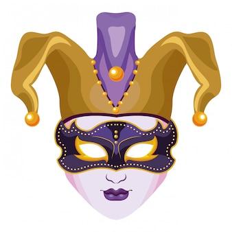 Máscara com chapéu de bobo da corte